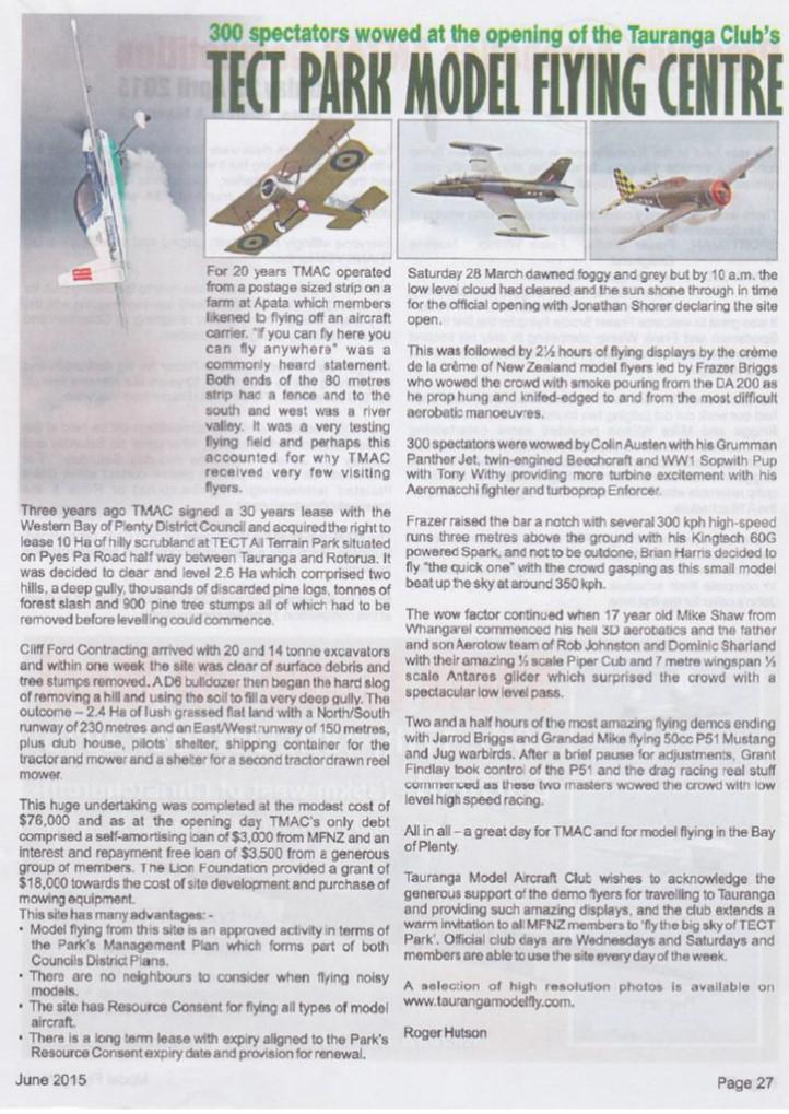 Club History | Tauranga Model Aircraft Club